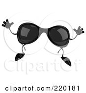 Royalty Free RF Clipart Illustration Of A 3d Pair Of Sunglasses Facing Front And Jumping