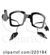3d Pair Of Glasses Facing Front And Holding A Thumb Up