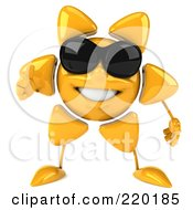 Royalty Free RF Clipart Illustration Of A 3d Sun Guy Facing Front Wearing Shades And Giving The Thumbs Up