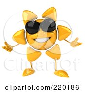 Royalty Free RF Clipart Illustration Of A 3d Sun Guy Facing Front Wearing Shades And Gesturing