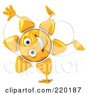 Royalty Free RF Clipart Illustration Of A 3d Sun Guy Facing Front And Doing A Hand Stand