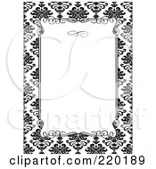 Royalty Free RF Clipart Illustration Of A Formal Invitation Design Of A White Box Over A Black Floral Pattern