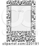 Royalty Free RF Clipart Illustration Of A Formal Black And White Floral Invitation Border With Copyspace 9