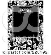 Royalty Free RF Clipart Illustration Of A Formal Black And White Floral Invitation Border With Copyspace 3