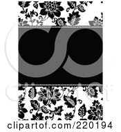 Royalty Free RF Clipart Illustration Of A Formal Black And White Floral Invitation Border With Copyspace 1