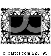 Royalty Free RF Clipart Illustration Of A Formal Black And White Floral Invitation Border With Copyspace 53