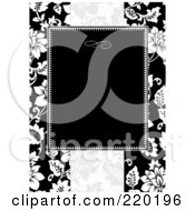 Royalty Free RF Clipart Illustration Of A Formal Black And White Floral Invitation Border With Copyspace 4