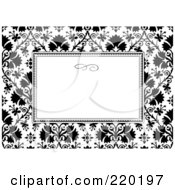 Royalty Free RF Clipart Illustration Of A Formal Invitation Design Of A White Box Over A Black And White Clover Pattern