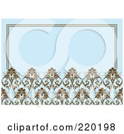 Royalty Free RF Clipart Illustration Of A Formal Invitation Design Of Brown Ornate Floral Designs Over Blue