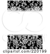 Royalty Free RF Clipart Illustration Of A Formal Black And White Floral Invitation Border With Copyspace 44