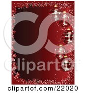 Clipart Picture Of 5 Sparkling Red Christmas Disco Ball Ornaments Suspended Over A Gradient Red Background