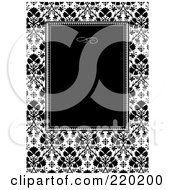 Royalty Free RF Clipart Illustration Of A Formal Invitation Design Of A Black Box Over A Clover Pattern