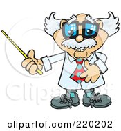 Royalty Free RF Clipart Illustration Of A Senior Professor Holding A Pointer Stick To The Left