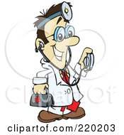 Royalty Free RF Clipart Illustration Of A Male Asian Doctor Carrying A First Aid Kit Wearing A Headlamp And Holding A Stethoscope