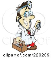 Royalty Free RF Clipart Illustration Of A Male Asian Doctor Carrying A Tool Box Wearing A Headlamp And Holding A Stethoscope