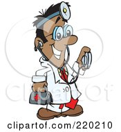 Royalty Free RF Clipart Illustration Of A Male Indian Hispanic Or Black Doctor Carrying A First Aid Kit Wearing A Headlamp And Holding A Stethoscope