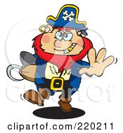 Royalty Free RF Clipart Illustration Of A Running Pirate With A Goold Tooth A Rugby Football In Arm by Dennis Holmes Designs
