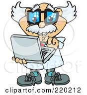Royalty Free RF Clipart Illustration Of A Senior Professor Holding And Using A Laptop Computer
