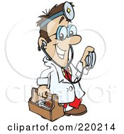 Royalty Free RF Clipart Illustration Of A Male Caucasian Doctor Carrying A Tool Box Wearing A Headlamp And Holding A Stethoscope