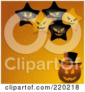 Royalty Free RF Clipart Illustration Of Evil Star Balloons Over A Halloween Jackolantern On An Orange Background by elaineitalia