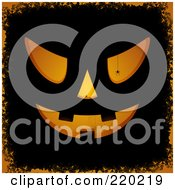 Royalty Free RF Clipart Illustration Of A Silhouetted Spider And Orange Light Shining Through Jackolantern Carvings On Black With Orange Grunge by elaineitalia