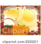 Royalty Free RF Clipart Illustration Of A Border Of Autumn Leaves With A Basket Of Apples And Leaves With Pumpkins On Yellow by elaineitalia