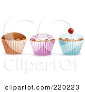 Royalty Free RF Clipart Illustration Of A Digital Colalge Of Three Cupcakes Chocolate Sprinkled And Cherry Topped