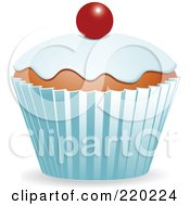 Royalty Free RF Clipart Illustration Of A Cupcake With Vanilla Frosting And A Single Cherry by elaineitalia