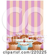 Royalty Free RF Clipart Illustration Of Decorated Cupcakes On A Counter Top Over Pink And Orange Stripes by elaineitalia