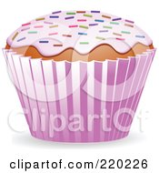 Royalty Free RF Clipart Illustration Of A Cupcake With Strawberry Frosting And Colored Springkles by elaineitalia