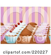 Royalty Free RF Clipart Illustration Of Rows Of Decorated Cupcakes On A Counter Top Over Pink And Orange Stripes by elaineitalia