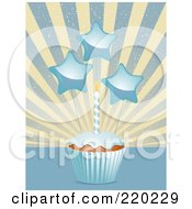 Royalty Free RF Clipart Illustration Of Star Decorations And A Birthday Candle On A Cupcake In A Blue Wrapper by elaineitalia