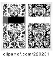 Royalty Free RF Clipart Illustration Of A Digital Collage Of Tall Black And White Floral Invite Designs