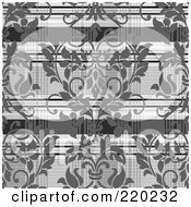 Royalty Free RF Clipart Illustration Of A Background Of Gray Damask Over Plaid