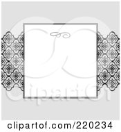 Royalty Free RF Clipart Illustration Of A Formal Invitation Design Of A White Box Over Black Ribbon On Gray