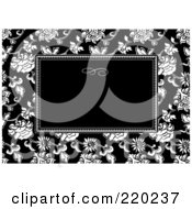 Royalty Free RF Clipart Illustration Of A Formal Black And White Floral Invitation Border With Copyspace 7