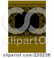 Royalty Free RF Clipart Illustration Of A Formal Invitation Design Of A Black Box Over A Dark Yellow Floral And Stripes Pattern
