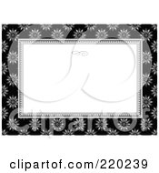 Royalty Free RF Clipart Illustration Of A Formal Black And White Floral Invitation Border With Copyspace 52