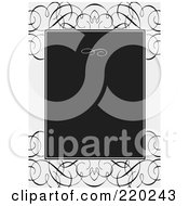 Royalty Free RF Clipart Illustration Of A Formal Invitation Design Of A Black Box Over Whit Ewith Black Swirls