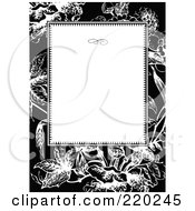 Royalty Free RF Clipart Illustration Of A Formal Invitation Design Of A White Box Over A Black And White Iris Pattern