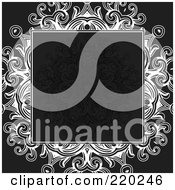 Royalty Free RF Clipart Illustration Of A Formal Invitation Design Of A Black Square And White Swirls Over Black