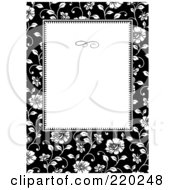 Royalty Free RF Clipart Illustration Of A Formal Black And White Floral Invitation Border With Copyspace 19