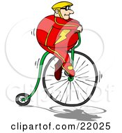 Pudgy Caucasian Man In A Red Suit And Yellow Helmet Riding High Up On A Penny Farthing Bicycle