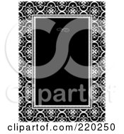 Royalty Free RF Clipart Illustration Of A Formal Invitation Design Of A Black Box Over A Floral Pattern