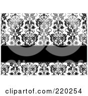 Royalty Free RF Clipart Illustration Of A Formal Black And White Floral Invitation Border With Copyspace 14