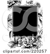 Royalty Free RF Clipart Illustration Of A Formal Black And White Floral Invitation Border With Copyspace 54