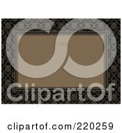 Royalty Free RF Clipart Illustration Of A Formal Invitation Design Of A Brown Box Over A Brown And Black Floral Pattern