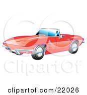 Clipart Illustration Of A Red 1963 Convertible Chevrolet Corvette With The Top Down And Crome Bumpers by Andy Nortnik #COLLC22026-0031