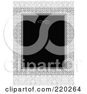 Royalty Free RF Clipart Illustration Of A Formal Black And White Floral Invitation Border With Copyspace 55