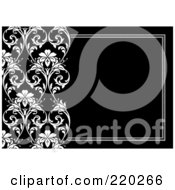 Royalty Free RF Clipart Illustration Of A Formal Black And White Floral Invitation Border With Copyspace 20